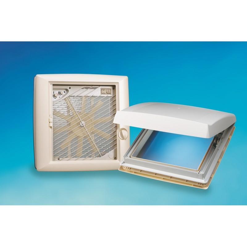 lanterneau omnistor omnivent blanc 400 x 400 avec ventilateur top. Black Bedroom Furniture Sets. Home Design Ideas