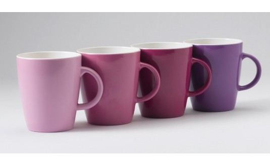 SET DE 4 MUGS EN MELAMINE EN DEGRADE DE ROSE ET VIOLET