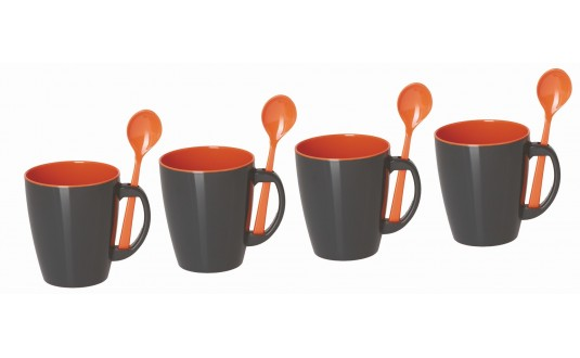 SET DE 4 MUGS ORANGE ET GRIS EN MELAMINE PAR 4 POUR CAMPING