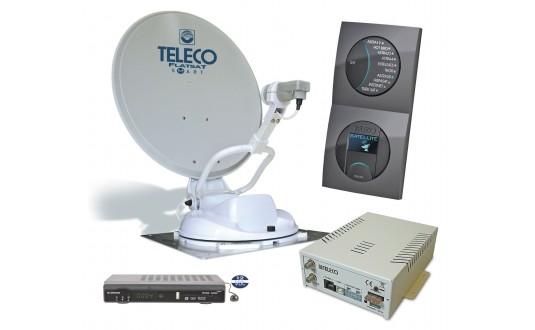 ANTENNE AUTOMATIQUE TELECO FLATSAT CLASSIC S 65 CM TWIN + 2 DEMO HD POUR CAMPING-CARS