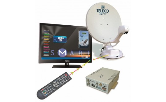 ANTENNE AUTOMATIQUE TELECO FLATSAT ELEGANCE S 65 CM TWIN + TV 19' + 2 DEMO HD