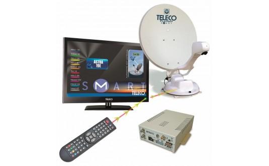 ANTENNE AUTOMATIQUE TELECO FLATSAT ELEGANCE S 65 CM SKEW + TV 19' + DEMO HD POUR CAMPING-CARS