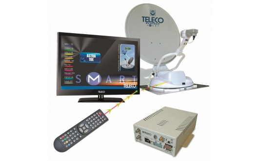 ANTENNE AUTOMATIQUE TELECO FLATSAT KOMFORT S 85 CM + TV 19' + DEMO HD
