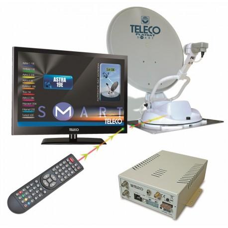 ANTENNE AUTOMATIQUE TELECO FLATSAT KOMFORT S 85 CM QUAD + TV 19' + DEMO HD POUR CAMPING-CARS