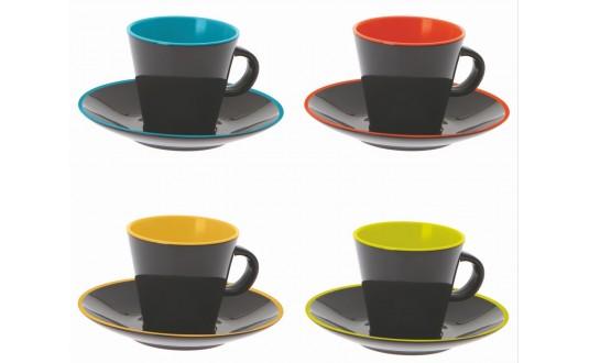 SET DE 4 TASSES À CAFE EXPRESSO NOIRE INTÉRIEUR MULTICOLORE EN MELAMINE POUR CAMPING