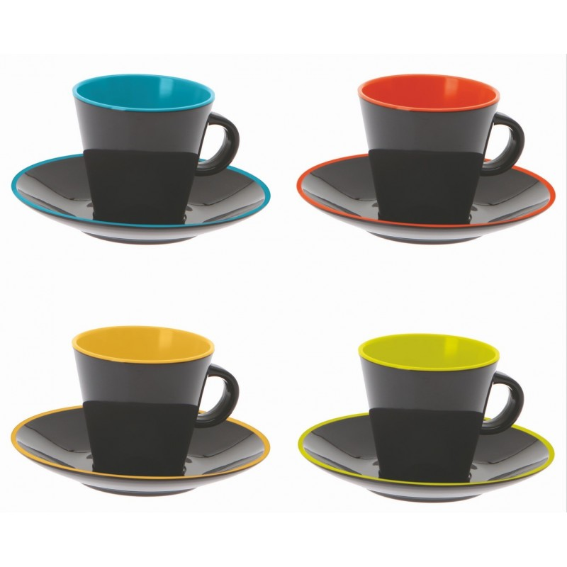 tasse cafe expresso noire int rieure multicolore par 4. Black Bedroom Furniture Sets. Home Design Ideas