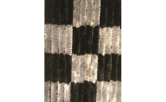 RIDEAU CHENILLE DAMIER NOIS & GRIS 60 X 185