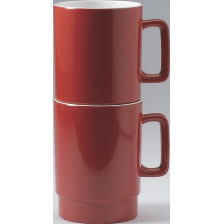 SET DE 2 MUGS EMPILABLES ROUGE EN MELAMINE