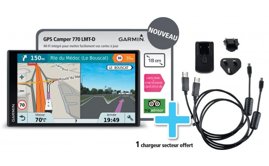GPS GARMIN CAMPER 770 LMT-D + 1 CHARGEUR SECTEUR OFFERT