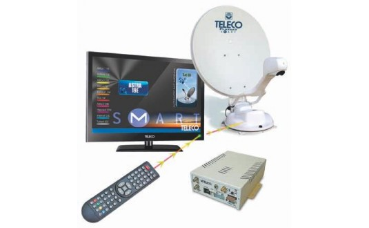 TELECO FLATSAT ELEGANCE S 85 CM TWIN SKEW + TV 19' + DEMO HD