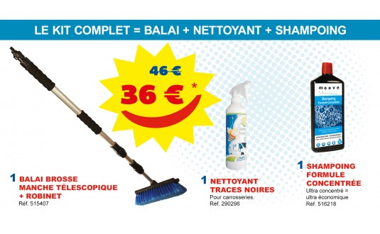 KIT COMPLET : BALAI + NETTOYANT + SHAMPOING