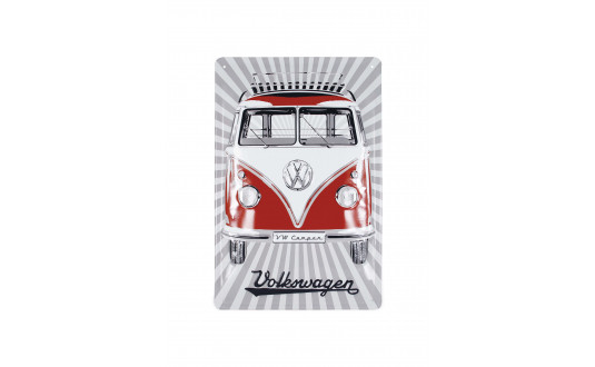 PLAQUE METAL SAMBA ROUGE VW - VERTICALE 20 x 30 CM
