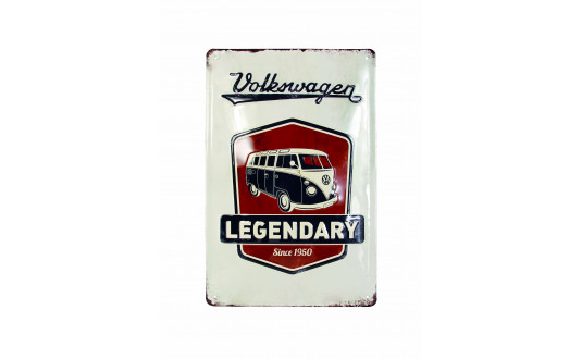 PLAQUE METAL LEGENDARY VW - VERTICALE 20 x 30 CM