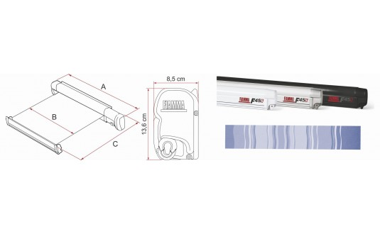 STORE EXTÉRIEUR FIAMMA F45S BOITIER TITANIUM TOILE BLEUE 3,00 X 2,50