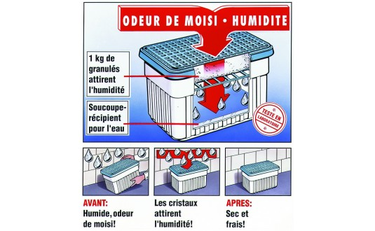 ABSORBEUR D'HUMIDITE 1 KG RECHARGE SEULE